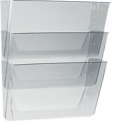 Storex Wall Files, Set of 3, Letter, Clear (Case of 6 sets)
