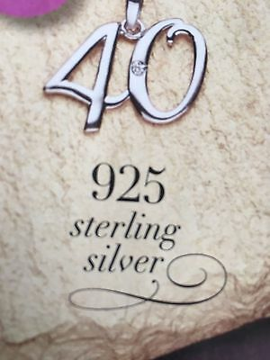 925 Sterling Silver Necklace, set with a genuine 0.006ct diamond 40th Birthday