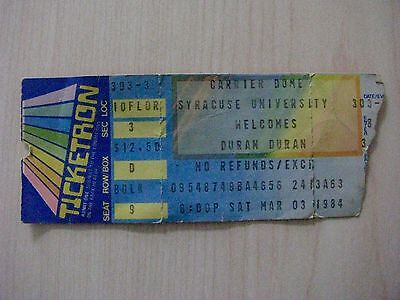 March 3, 1984 DURAN DURAN Ticket Stub ~ CARRIER DOME ~ SYRACUSE UNIVERSITY, NY