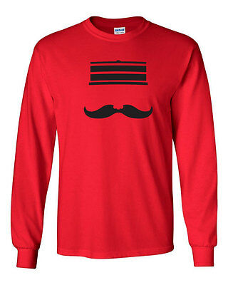 294 Redleg Mustache Long Sleeve Shirt baseball cincinnati cincy ohio vintage new