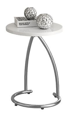L&S Basics 10476 Accent Table - Glossy White With Chrome Metal