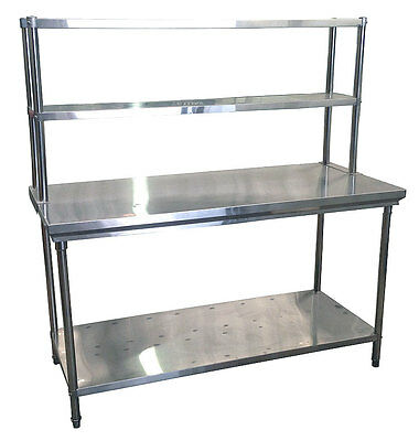 Commercial Kitchen Stainless Steel Double Overshelf For Prep Tables - 600mm
