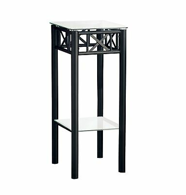 L&S Basics 10510 Accent Table - Black Metal With Tempered Glass