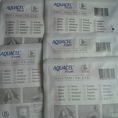 "Aquacel Foam Dressing 10cm x 10cm, 4""x4"" x5 Dressing wound care home care"