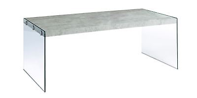 L&S Basics 10609 Coffee Table - Grey Cement With Tempered Glass