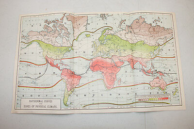 Authentic first issu print in 1890 WORLD MAP VINTAGE isothermal curves climate 2