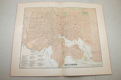 Authentic first issu print in 1890 WORLD MAP VINTAGE Baltimore  (13)