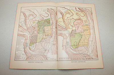 Authentic first issu print 1890 WORLD MAP VINTAGE Modern Ancient Jerusalem 12