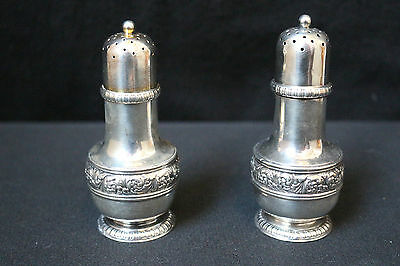 Ornate Antique Mid 19c Tiffany & Co Sterling Silver Set Salt & Pepper Shakers