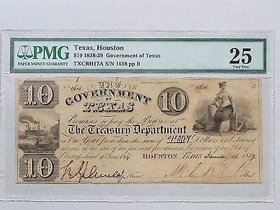 Texas Government Of $10 Note 1839 Vf25