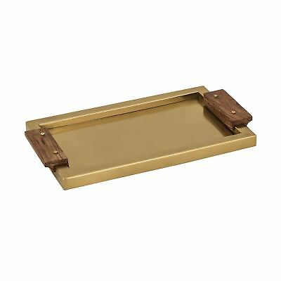 Brass Tray with Wood Handles