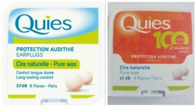 Quies Pure Natural Wax Protection Auditive Earplugs | 8 Pairs | FREE UK P&P