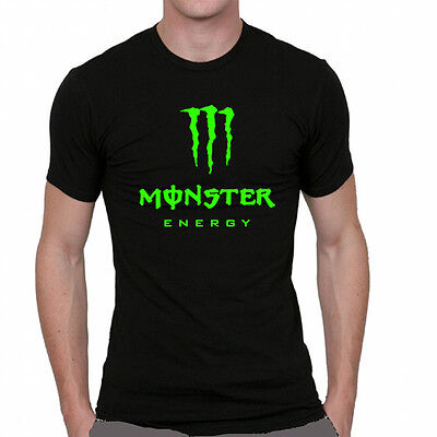 t-shirt noir monster ernergy drink fox kawasaki moto gp racing rossi vert fluo