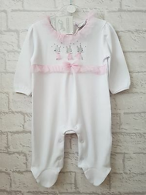 Baby Girls Gorgeous White Embroidered Dancing Bunnies TuTu Boutique Romper