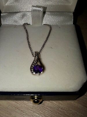 925 silver 375 yellow gold amethyst and diamond pendant and necklace