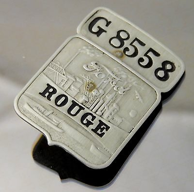 """Employee Badge Ford Motor Company Rouge Plant No. G8558 Steel and Enamel 1.5"""""""