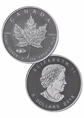 2016 1 oz. Canadian Silver Maple Leaf Reverse Proof TANK PRIVY, in capsule!