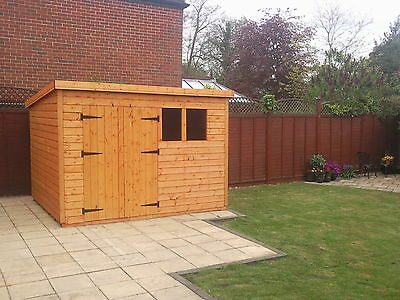 """10X8 Or 12X6 Pent Wooden Garden Shed 13Mm T/g """"2X2 """"cls Frame 1""""  Floor"""