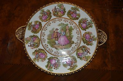 Bayreuth Bavaria West Germany Gloria Fine Porcelain Gold Plated Metal Plate/Tray