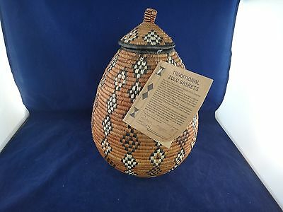 Hand Woven Traditional Zulu Basket With Lid