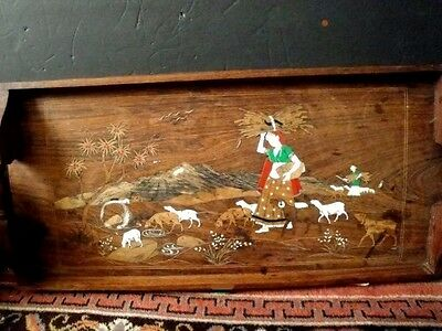 """LARGE VINTAGE INLAID BOVINE and PARQUETRY WOOD PICTORIAL SERVING TRAY INDIA 25"""""""