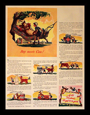 1939 Borden Ad with Elsie the Cow - Evaporated Milk - Vintage Food Advertising