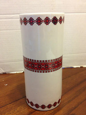 Vintage Ukrainian Pattern Art Pottery Flower Vase