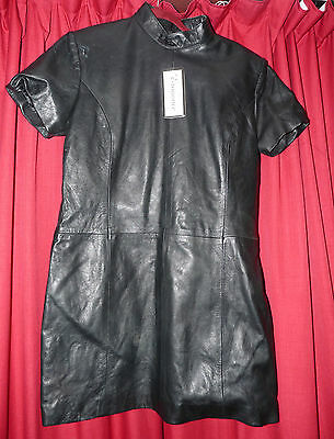 TV fitting black leather high neck dress 44 chest front zipper lined mistress