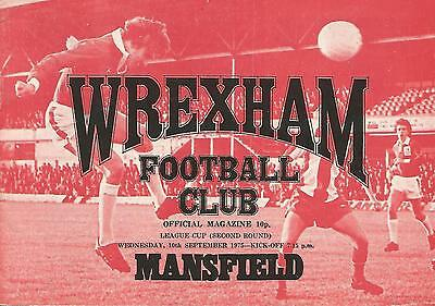 Football Programme - Wrexham v Mansfield Town - League Cup - 10/9/1975