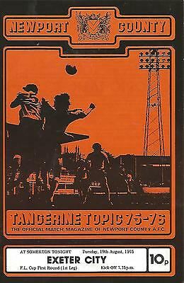 Football Programme - Newport County v Exeter City - League Cup - 19/8/1975