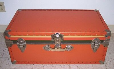 Vintage TRUNK Coffee Table Eames Era ORANGE Storage Chest Mid Century Modern
