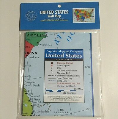 28x40 US Map of United States of America Wall Art Poster made in USA