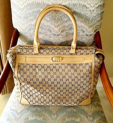 Vintage Gucci Gg Tan Monogram Large Carry On Travel Luggage Bag & Chanel Gift