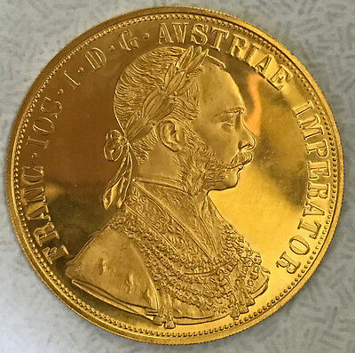 1915 Austrian 4 Ducat Gold Coin 40Mm/.986 Purity Uncirculated Nice!!!