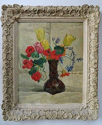 Indistinctly Signed 'PARK' mid 20th Century OIL PAINTING A Still Life Of FLOWERS