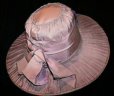 1915 Vintage Lavender Straw Wide Brim Hat w/ Pleated Silk Overlay Lilac Trim