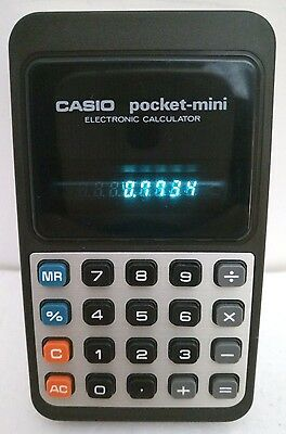 Vintage Casio Pocket Mini Electronic Calculator P-811 with Green VFD Display