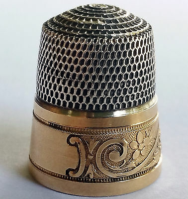 Simons Brothers Sterling Silver And Gold Thimble Size 11
