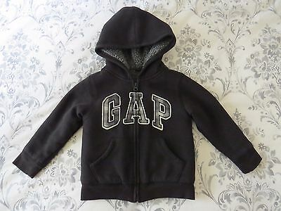 Baby Gap Black Hoodie Gray Sherpa Lined Warm Cozy 4T Years Toddler Boy VGUC