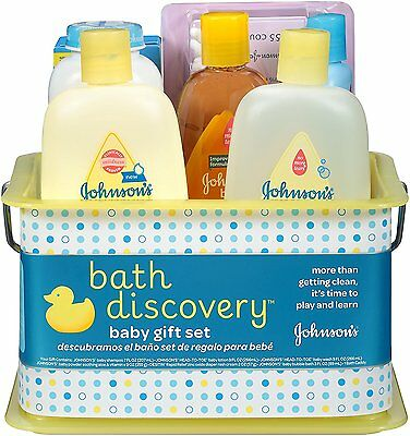 Johnson's Bath Discovery Gift Set For Parents-To-Be, Caddy With Bath Essentials,