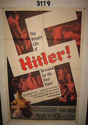 THE PRIVATE LIFE OF Hitler! Original 1sh Movie Poster '62 Nazi Germany