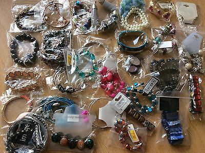 Job Lot Of 30 NEW Items Of Fashion Jewellery MIXED BRACELETS New Wrapped