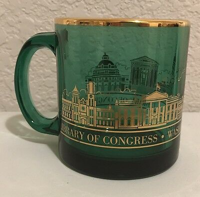 Library of Congress Green & Gold Glass Mug Made in USA
