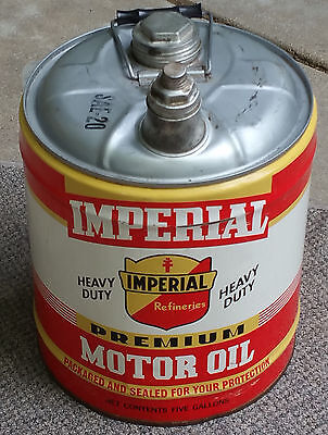 Vintage Imperial Motor Oil Metal Empty 5 Gallon Can