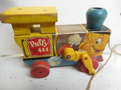 Vintage Fisher Price Puffy 444 Wooden Pull Toy Train Engine YELLOW