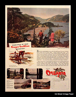 1947 Oregon Vacation Ad with Columbia River Photo - Vintage Advertising Page