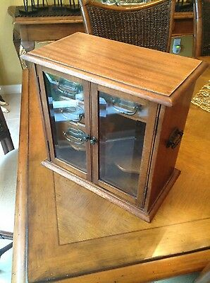 antique Victorian  walnut pipe-tobacco cabinet 4 drawers great size