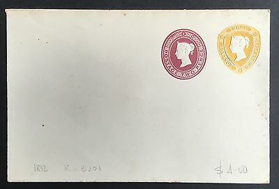 QV 2d + 1 1/2d embossed postal stationery compound envelope (1892) mint