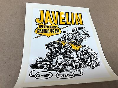 """Vintage Original 1960's Ed Roth Javelin  Water Transfer Decal Large Size 4"""" X 5"""""""