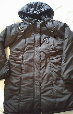 Oh Baby by Motherhood Hooded Puffer Coat Large Black Parka Maternity Winter